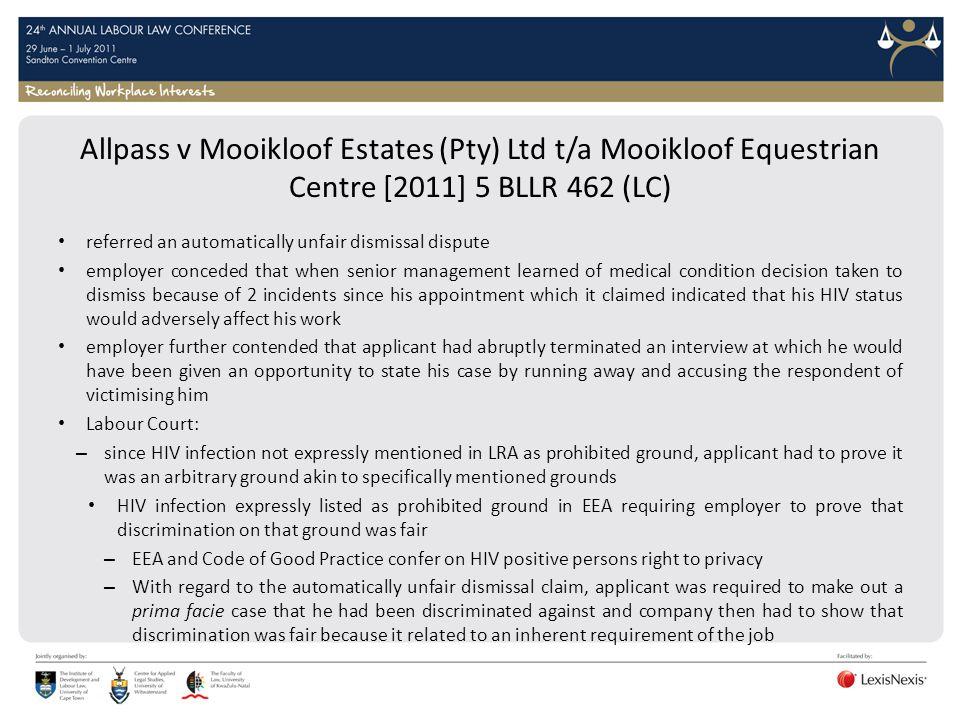 Allpass v Mooikloof Estates (Pty) Ltd t/a Mooikloof Equestrian Centre [2011] 5 BLLR 462 (LC)